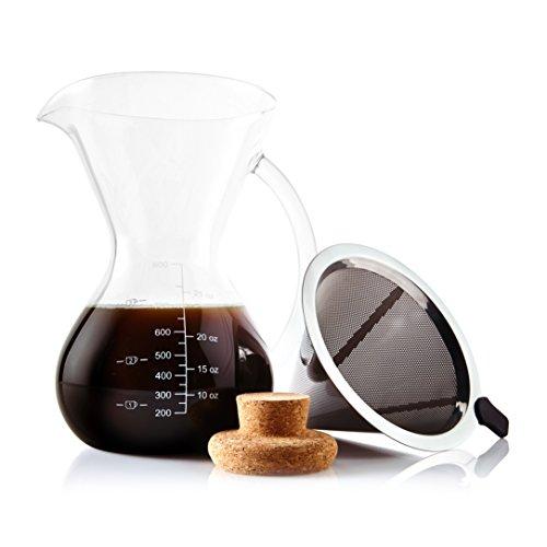 Apace Living SultryBrew Pour Over Kaffeebereiter inkl. Kaffeeschaufel und Korkdeckel Eleganter Handfilter für Filterkaffee mit Glaskaraffe & Permanentfilter aus Edelstahl (800 ML)