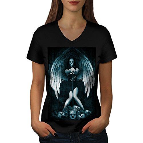Engel Metall Tod Horror Schwert Mädchen Damen M V-Ausschnitt T-shirt   (Kostüme Tod Kinder Krieger)