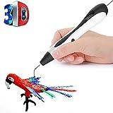 LZX 3D-Druckstift, Sicher Und Einfach Zu Bedienen 3D-Stift Mit LCD-Bildschirm, DIY Für Kinder, 3D-Zeichnungs Stift, 20 Farbige Pla-Filament-Nachfüllung (Weiß)