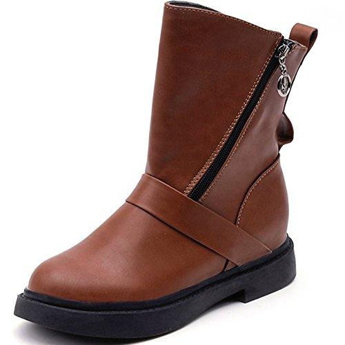 Scarpe donna pu inverno combattere Stivali Stivali tacco basso punta tonda Mid-Calf scarponi per Casual marrone nero,marrone,US5.5 / EU36 / UK3.5 / CN35 Brown
