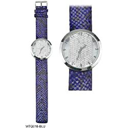 Circular Shaped Diamante Encrusted Face with Dark Blue Snakeskin Pattern Strap Ladies Watch