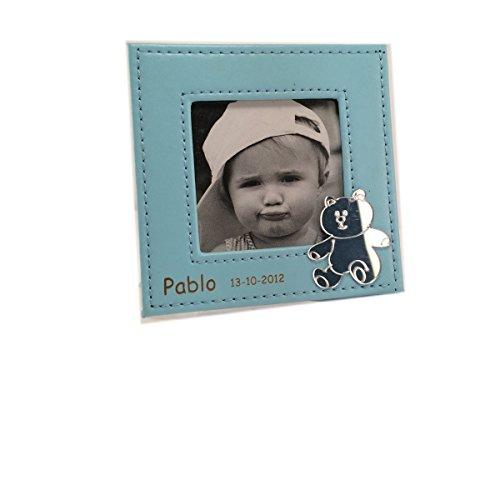 Portafoto para bautizo en piel GRABADO con nombre y fecha. Pack 10 unidades