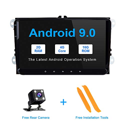 ZLTOOPAI Android 9.0 Autoradio für VW Seat Skoda mit 9-Zoll-HD-Digital-Multi-Touchscreen-Bluetooth-Haupteinheit Autoradio-Multimedia-Player unterstützt WiFi GPS Full RCA-Ausgang