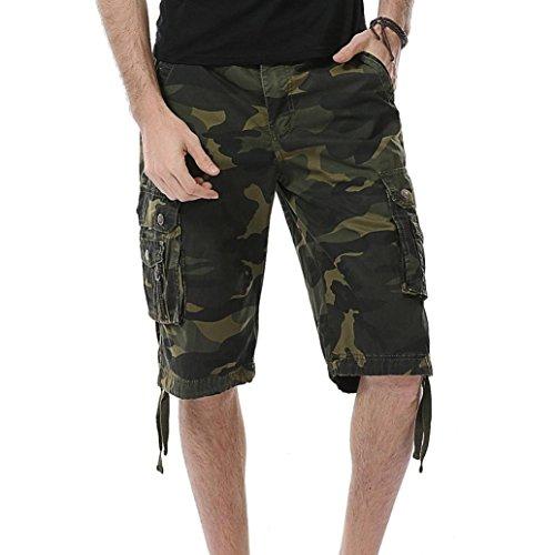 SANFASHION Männer Casual Camouflage Tasche Strand Arbeit Kurze Hosen Cargo Shorts Pant (40, Armeegrün)