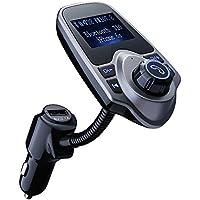 VICTSING Manos Mibres Transmisor FM Bluetooth Coche Sin Instalacion,Reproductor mp3 Mechero Coche,Emisor FM para el Coche,USB Cargador con Audio de 3.5mm Mic Puerto, Ranura para Tarjeta del TF-Gris