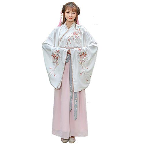 Susichou Kostüm Hanfu Wide Sleeve Kostüme Big Sleeve Crossing Set Fairy Dress Süßes, frisches und Elegantes Performance Kostüm (M) (Show Kostüm Big)