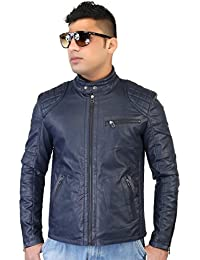 Caveliro Men's Navy Slant Zip Pocket Faux Leather Biker Jacket