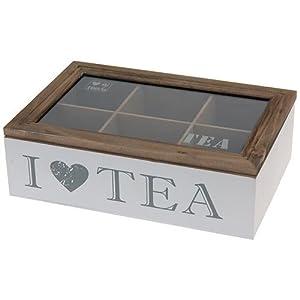 Koopman International Bv. Boîte de rangement en bois pour sac de thé, avec 6 compartiments, 23 x 15,5 x 7 cm, blanc/marron