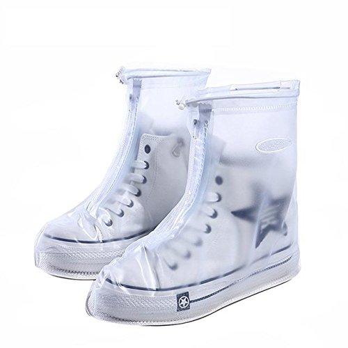 Bluelover Outdoor Wieder Verwendbare Wasserdichte Overshoes Shoe Covers Protector Regen Abdeckung - M - Weiß