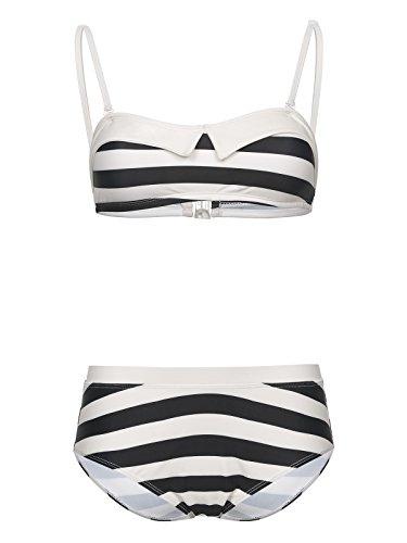 emp bikini Pussy Deluxe Big Party Stripes Bikini Bikini-Set schwarz/Creme L