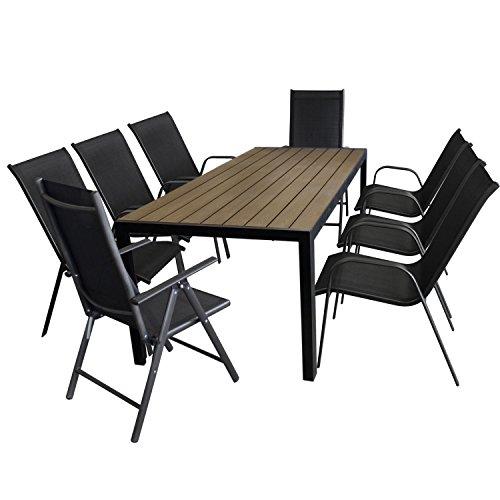 9tlg. Gartengarnitur Aluminium Gartentisch, Tischplatte Polywood, Braun, 205x90cm + 6x Stapelstuhl, Textilenbespannung + 2x Hochlehner mit 2x2 Textilenbespannung, Lehne 7-fach verstellbar - Gartenmöbel Set Sitzgarnitur Sitzgruppe