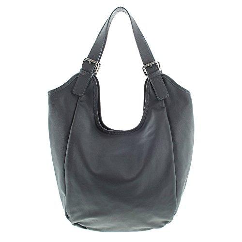 IO.IO.MIO Leder Shopper Beuteltasche oder Schultertasche für Damen freie Farbwahl rot / schwarz / blau / grün / grau / braun / cognac / dunkelblau (grau) (Shopper Kleiner)