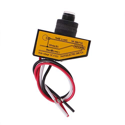 JOYKK Automatischer Lichtsteuerungssensor DC12V 24V 36V 48V Dusk to Dawn Fotozellenschalter - Schwarz