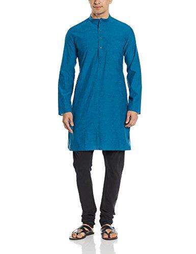 Manyavar Men's Mid-Thigh Cotton Kurta (8903035198846_ML11767-326-M_Green)