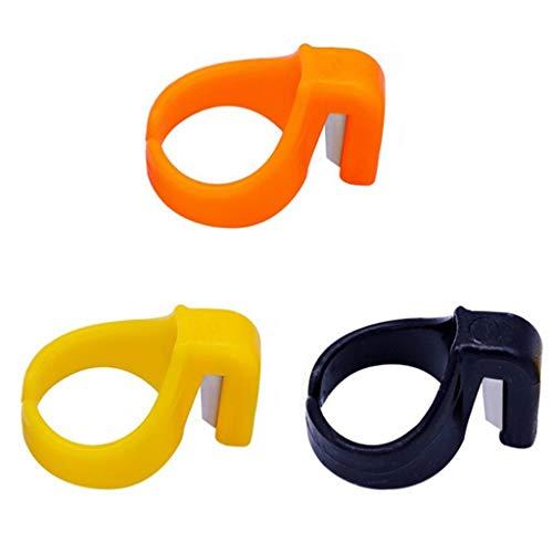 Stoffschneider Set Sekante Werkzeug Textilfaser Metallwolle Spinnen Finger Sekante Schneidermesser Rostfreier Edelstahlklinge 3 Stück (Orange + Gelb + Schwarz)