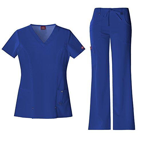 Dickies Xtreme Stretch Women's V-Neck Top 82851 & Drawstring Pant 82011 Scrub Set (Galaxy Blue - X-Large) (Top Drawstring-scrub)