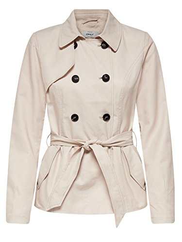 ONLY Damen Mantel Onllucy Short Trenchcoat CC Otw, Grau (Moonbeam), 38 (Herstellergröße: M) (Kurz 38 Mantel)
