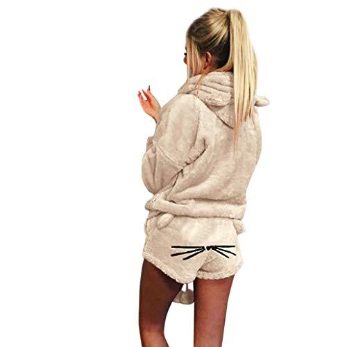 Reaso Femme Ensemble de Pyjamas Doux Chat Pyjama Sweat À Capuche + Pantalon Court Dames Vêtements de Nuit Solide Couleur Chaud Automne Hiver Vêtements de Nuit Deux Piece Chandail Manteau Cardiga