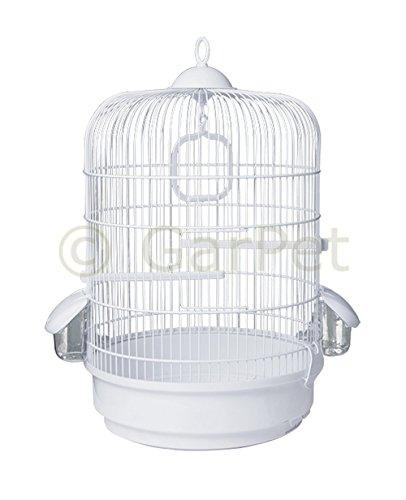 Vogelkäfig Papagei Vögel Kanarien Wellensittich Käfig Papageienkäfig rund weiß