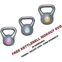 Vinyl Kettlebell Sets Fitness Kettle Bell Strength Training Home Gym Weights