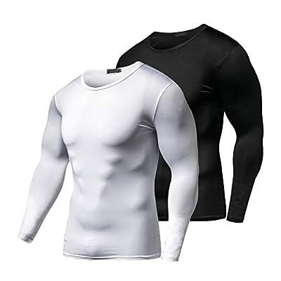 Fitibest Herren kompressions T Shirt Langarmshirt Funktions-T-Shirt Top Fitness,2 Stück