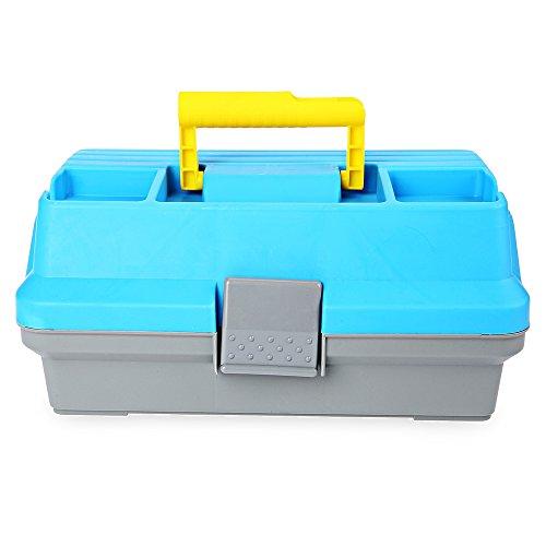 Zhuhaimei,3 Schicht Multifunktionskarpfen-Angelgerät Plastikgriff-Kasten(Color:BLAU)