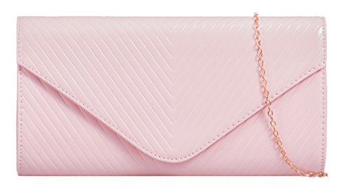 Girly Handtaschen glänzend übergroßen Patent Kunstleder Clutch Geprägte V Form Abend Party - Patent-leder-wildleder-clutch