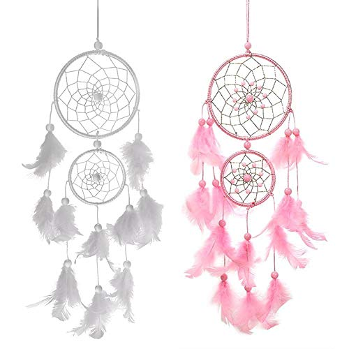 INTVN Dream Catcher Handmade Circular Net with Feathers Double Ring Wall Hanging...