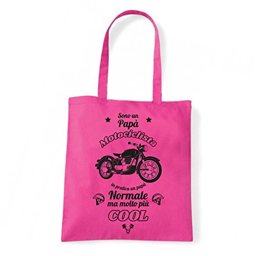 Art T-shirt, Borsa Shoulder Papà Motociclista, Shopper, Mare Fucsia