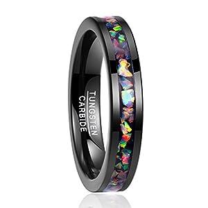 Nuncad Unisex Ring aus Wolfram mit Opal 4mm Schwarz Größe 54-67 (14-27)