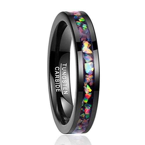 Nuncad Damen Herren Unisex Ring aus Wolfram mit Zerkleinerte Feueropal 4mm Breit Schwarz Mehrfarbig für Partner Jahrestag Alltag Größe 57 (17) -
