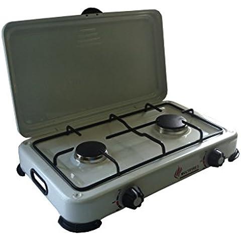 Cocina gas butano para diferentes tipos de bombona - multifire 2 gold, dos fogones – camping gas recargable, portátil, multiusos –para acampada o hogar - garantía y calidad