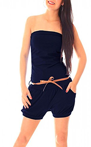 Easy Young Fashion Damen Sommer Bandeau Kurzoverall Jumpsuit One Size Marine