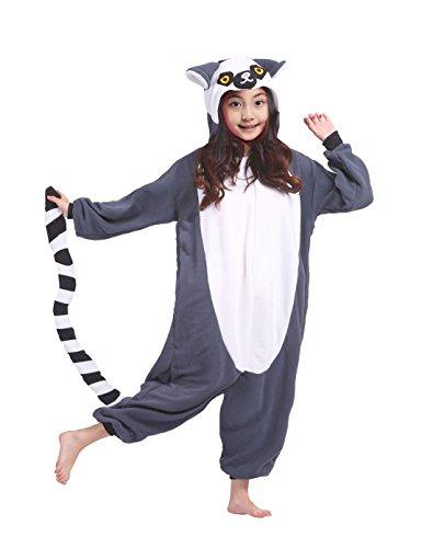 Kostüm Jumpsuit Tier Onesie Kinder Jungen Karneval Lemur Kostüm 130 (Lemur Kostüm Kinder)