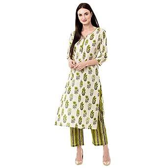 Gulmohar Jaipur Women's Cotton Printed Kurta Pant Set (Green)