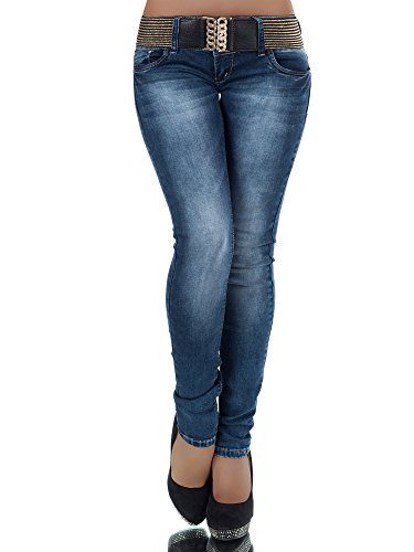 L868 Damen Jeans Hose Hüfthose Damenjeans Hüftjeans Röhrenjeans Röhrenhose Röhre, Farben:Blau, Größen:36 (S)