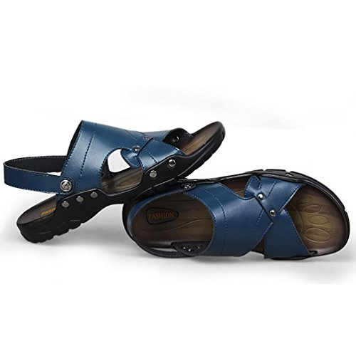 SHANGXIAN Estate usura due tipi uomo di Flip Flops Casual Sandali in pelle Blue