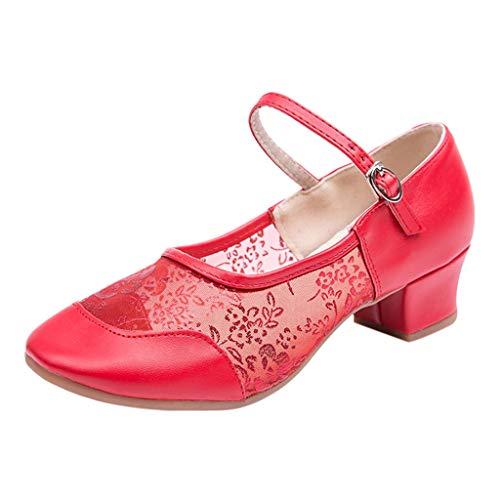 Charakterschuhe Damen Latein Salsa Rumba Trachten Tango Tanz Schuhe mit Chromledersohle Standardtanzschuhe Latein Salsa Bachata Performance Tanzschuhe