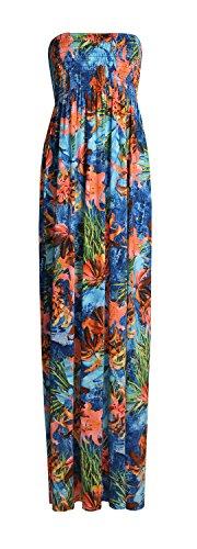Fast Fashion - Maxi Robe Plus Taille Tie Dye Rayure De Léopard Floral Imprimé - Femme Bleu Mix Imprimer