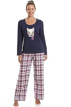 Damen Schlafanzug mit Fuchs-Motiv - Hose kariert - Dunkelblau 40