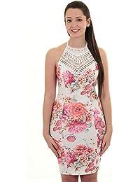dccafbbd SAPPHIRE BOUTIQUE Womens Strappy Cami Crochet Lace Trim Flower Floral V  Neck Mini Bodycon Dress