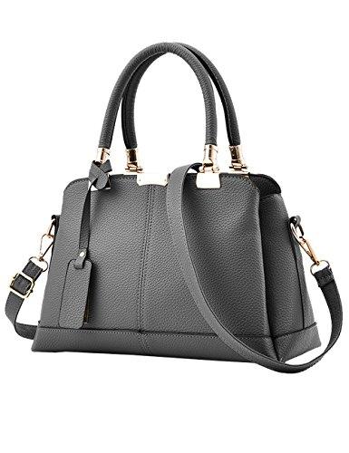 Menschwear Leather Tote Bag lucida PU nuove signore borsa a tracolla Viola Grigio