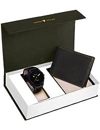 Jainx Fashion Black Watch & Genuine Leather Wallet Combo For Men & Boys - JWC914