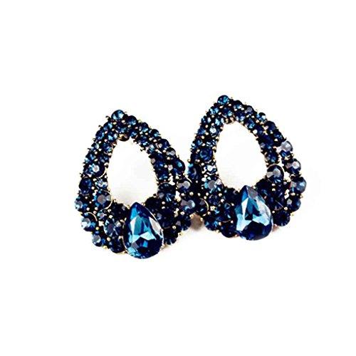 Bobury Frauen CZ Nachahmung Diamant Kristall Sapphire Style Waterdrop Ohrstecker