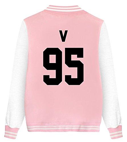 ShallGood Mode bedruckt Unisex Baseball Jacket KPOP BTS Fans Suga Jin Jimin Jung Kook J-Jope V Rap Monster V-95 Rosa DE 52