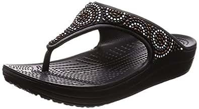 17adf85b1 crocs Women s Sloane Embellished Flip-Beaded Black Flip-Flops-W10 (205051-