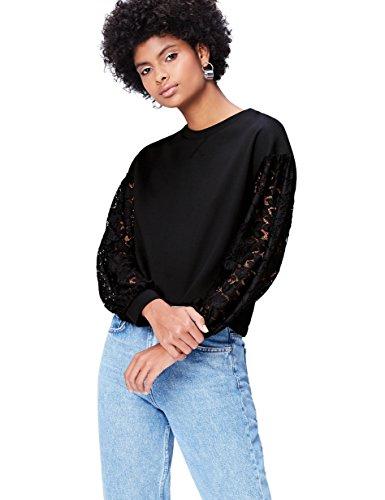 find. Sweatshirt Damen mit Ärmeln aus halbtransparenter Spitze, rundem Ausschnitt und elastischen Bündchen, Schwarz, 38 (Herstellergröße: Medium)