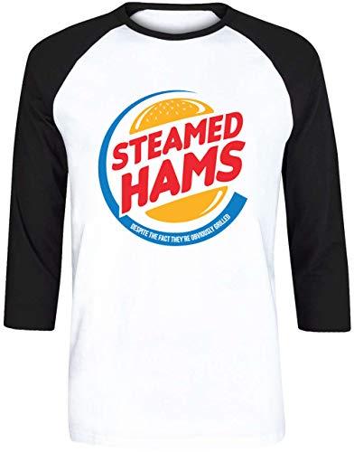 Steamed Hams Herren Weiß Schwarz Baseball T-Shirt 3/4 Ärmel Größe S | Men's White Black Baseball T-Shirt Size S (Marge Simpson Kleid)