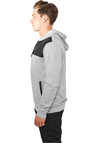 Urban Classics Hoody Leather Imitation Shoulder gry/blk