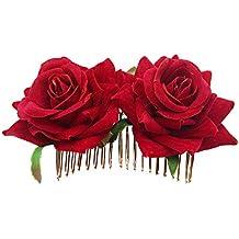 SODIAL Pinza De Pelo De Flor Rosa Diapositiva Alfiler De Bailarina De Flamenco Broche De Flores
